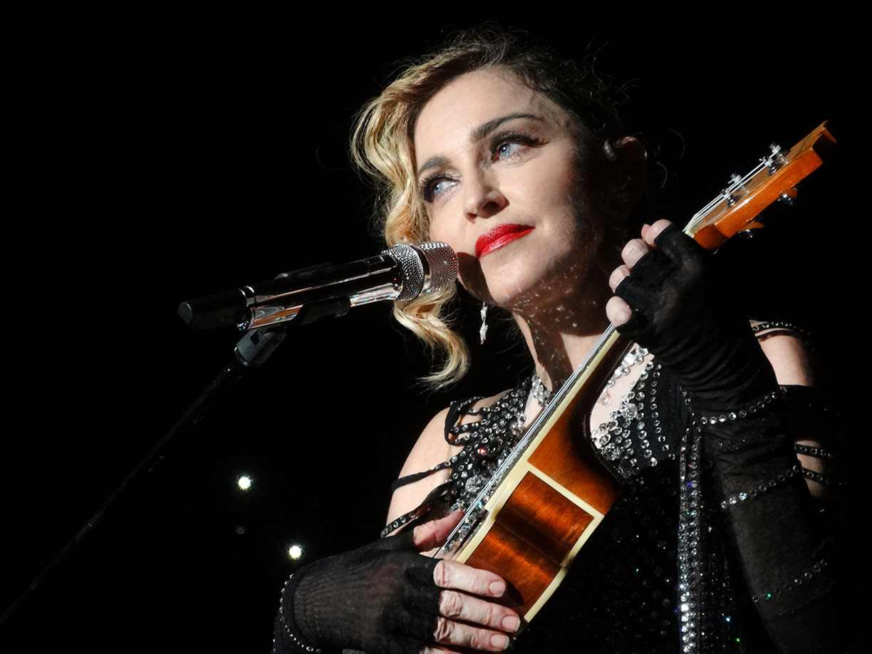 Madonna finglerless leather gloves