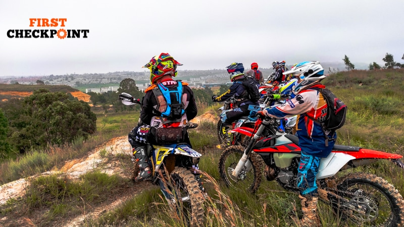 Group of First Checkpoint dirt bike riders wearing heart rate monitors
