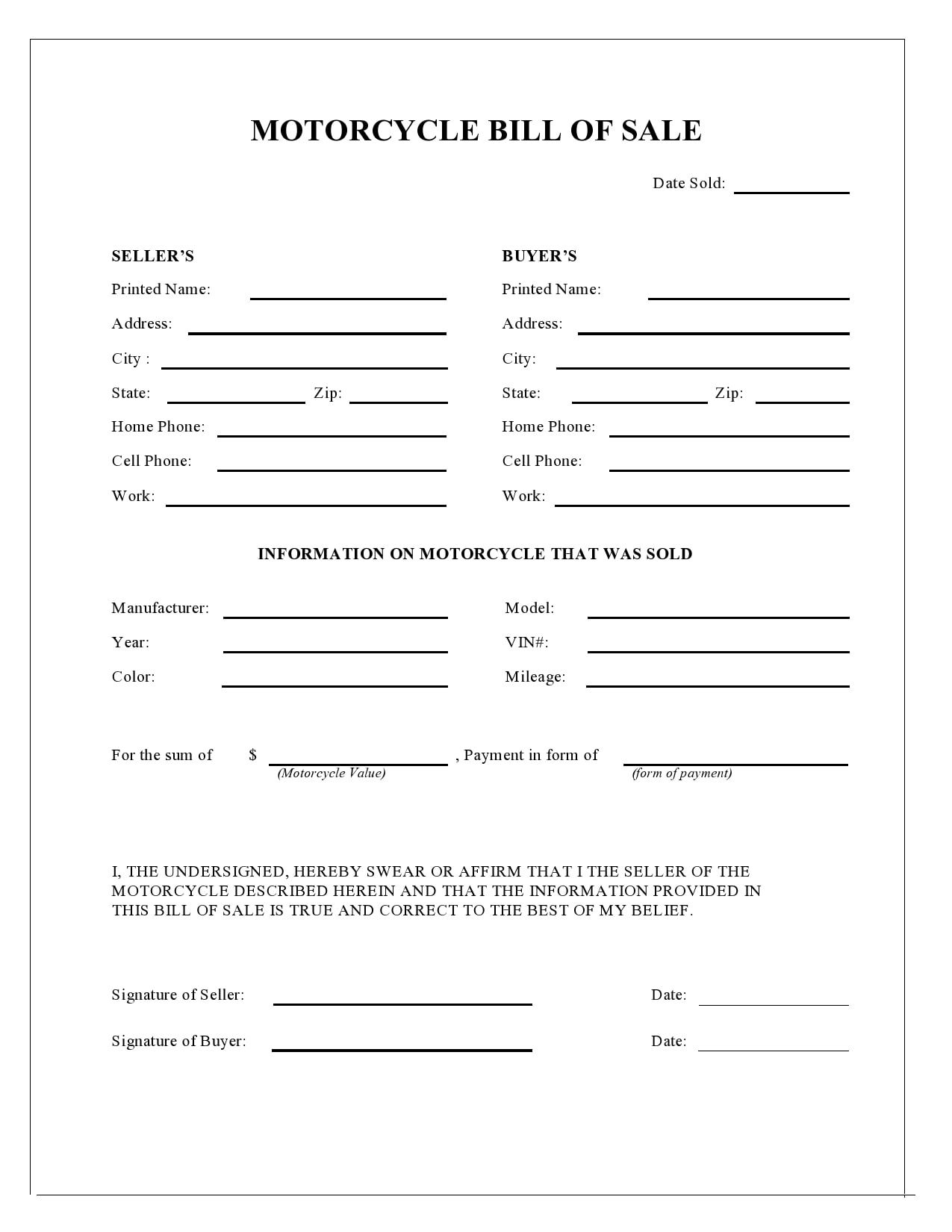 Free Motorcycle Bill of Sale Template