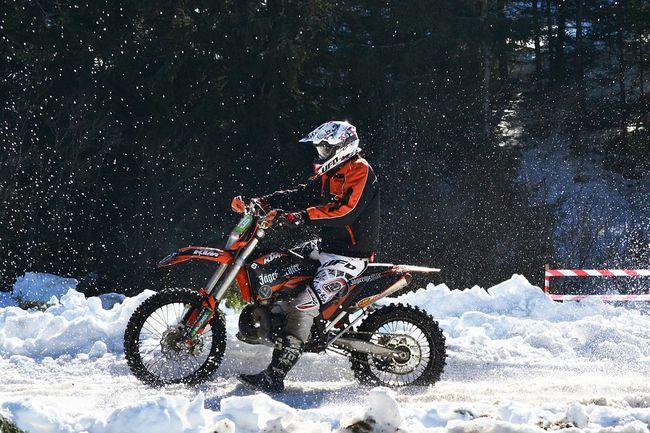 Dirt bike in snow